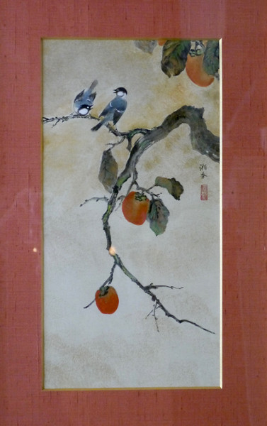 Shoko Ohta - Persimmon Tree with Birds柿に小禽