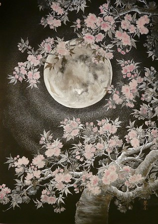 Yae in the moonlight (Double cherry blossoms) 月光の八重