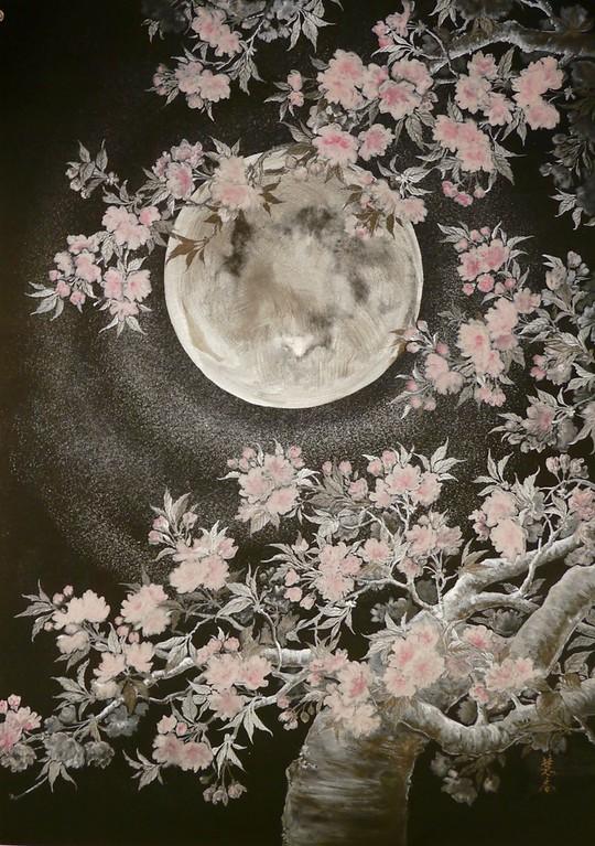 Suiko Ohta - Yae in the moonlight (Double cherry blossoms) 月光の八重