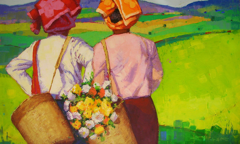 Than Kyaw Htay,The Wonderland (4), 2010. Acrylic on canvas, 57 x 36 in (89 cm x 142 cm).<b>SOLD</b>