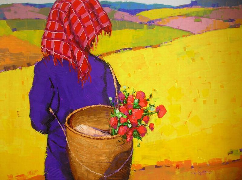 Than Kyaw Htay,The Wonderland (5), 2010. Acrylic on canvas.49 x 37 in (92 cm x 122 cm).