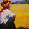 Than Kyaw Htay,Yellow Field and Me, 2010. Acrylic on canvas. 69 cm x 92 cm. <b>SOLD</b>
