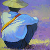 Than Kyaw Htay, Alone in deep thought. Acrylic on canvas, 92 cm x 105 cm. <b>SOLD</b>