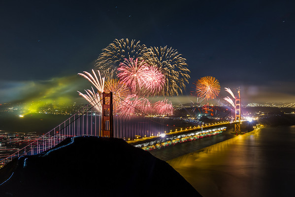 """Golden Gate Bridge 75th Anniversary  Here is one I have been working on for a while. I wanted to blend a few of my images from that night together, but never got around to it. So for all you """"Photoshopped"""" commentors out there, photoshop was involved in this :)  Buy Prints: tobyharriman.smugmug.com/Photography/Golden-Gate-Bridge/2...   [www.tobyharriman.com] [facebook] [Google+] [Tumblr] [Twitter] [redbubble]    © Toby Harriman all images Creative Commons Noncommercial. Please contact me before use in any publication."""