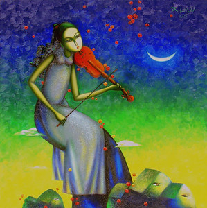 Artist - Tran Quoc Vinh Title - Playing Violin Medium - Oil on Canvas Dimensions - 100x100 Status - Private Collection Tokyo
