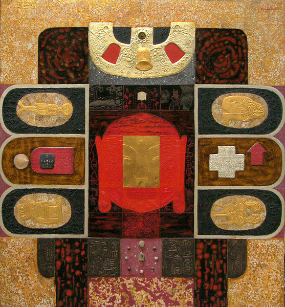 Trinh Quoc Chien, Space of Buddha, lacquer and mixed media, 36 X 40 in.