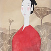 Vu Thu Hien, Lotus Dreaming 2; Watercolour on Dzo paper; 24 x 32 in ; 2013 <b> (SOLD) </b>