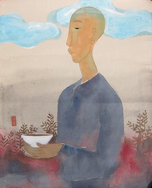 Vu Thu Hien, Feelings; Watercolour on Dzo paper; 24 x 32 in ; 2013