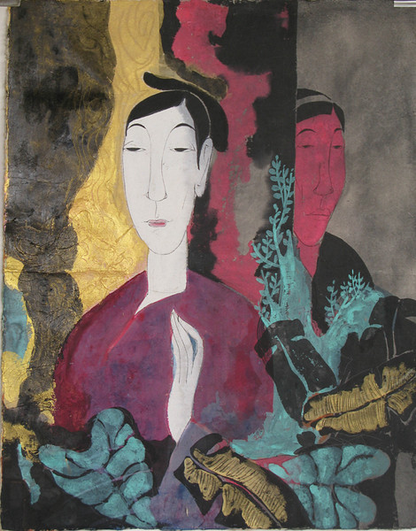 Vu Thu Hien, Waiting 60 x 80cm, Watercolour on Dzo paper <b> (SOLD) </b>