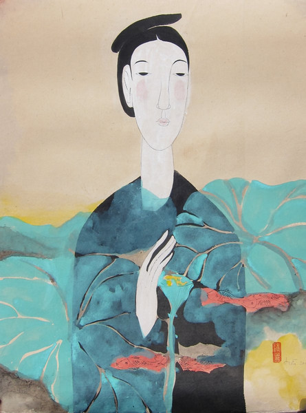 Vu Thu Hien, Lotus Dreaming 1; Watercolour on Dzo paper; 24 x 32 in ; 2013