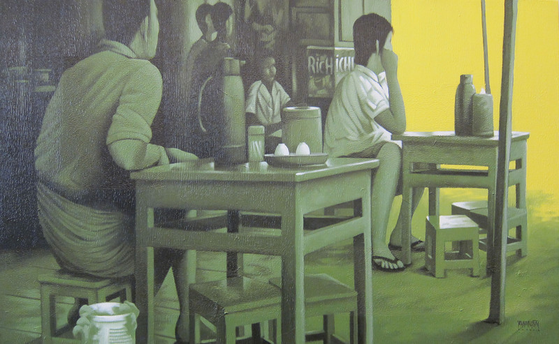 Yan Naing Tun, Waiting For..., 2012. Acrylic on canvas, 50 X 30 in.