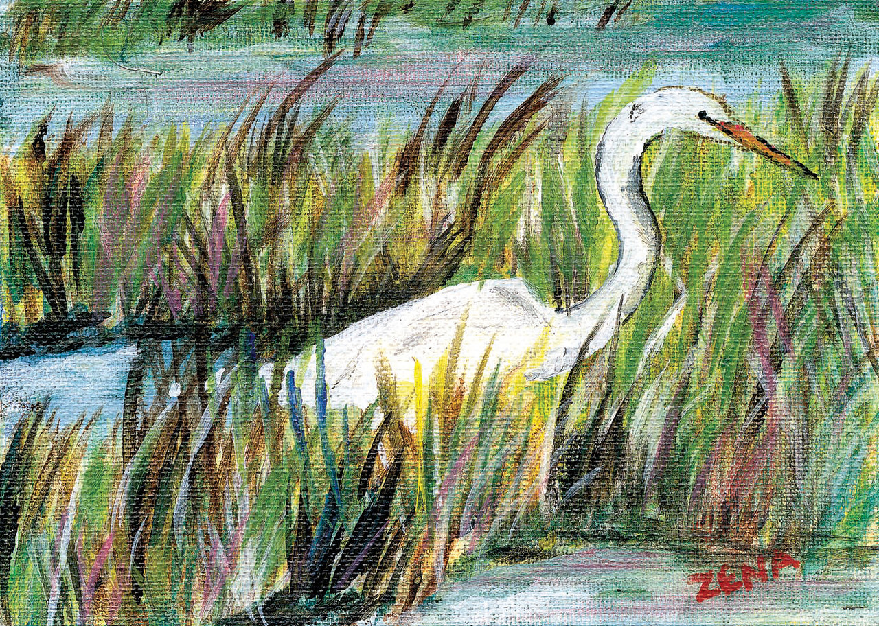 Name: Wading In The Marsh<br /> Medium: Acrylic<br /> Size: 7x5<br /> Price: $25<br /> Contact: Zena Altman<br /> Email: zaltman1@hotmail.com<br /> Phone: 843-546-8153