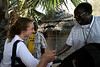 Italian-born artist Vanessa Beecroft, left is greeted upon arrival to Rumbek for a visit to the missions of the Diocess of Rumbek, Southern Sudan, November 2005. South Sudan has been negatively affected by the First and Second Sudanese Civil Wars for all but 10 years since independence in 1956, resulting in serious neglect, lack of infrastructure development, and major destruction and displacement. More than 2 million people have died, and more than 4 million are internally displaced or have become refugees as a result of the civil war and war-related impacts. The Jan. 9. 2005 peace accord granted the region autonomy and as part of that, Southern Sudan is scheduled to have a referendum on independence in 2011(Australfoto/Douglas Engle)