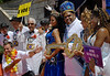 Eduardo Paes, extreme left, Rio de Janeiro's Mayor, and Milton Junior, right, the Momo King of the Carnival, between the Carnival Queen Shayene Cesario, left, and princesses Talita del Castilho and Suellen Ferreira Pinto, extreme right, pose during the carnival opening ceremony, Rio de Janeiro, Brazil. February 12, 2010. The event officially kicks off the 2010 carnival week in Rio. (Austral Foto/Renzo Gostoli)