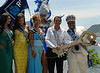 Milton Junior, Rio's carnival King Momo, right,  Rio de Janeiro's Mayor Eduardo Paes, Carnival Queen Jessica Maia, 1st Princess Shayene Cesario and 2nd Princess Charlene da Costa, left, pose to journalists during the carnival opening ceremony, Rio de Janeiro, Brazil. February 20, 2009. The event officially kicks off the 2009 carnival week in Rio. (Austral Foto/Renzo Gostoli)<br /> Eduardo Paes, right, Rio de Janeiro's Mayor, gives the key of the city to Milton Junior, center, the Momo King of the Carnival during the carnival opening ceremony, Rio de Janeiro, Brazil. February 20, 2009. The event officially kicks off the 2009 carnival week in Rio. (Austral Foto/Renzo Gostoli)