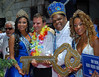 Eduardo Paes, left, Rio de Janeiro's Mayor, and Milton Junior, right, the Momo King of the Carnival, between the Carnival Queen Shayene Cesario, left, and princess Talita del Castilho, right pose during the carnival opening ceremony, Rio de Janeiro, Brazil. February 12, 2010. The event officially kicks off the 2010 carnival week in Rio. (Austral Foto/Renzo Gostoli)