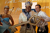 Eduardo Paes, right, Rio de Janeiro's Mayor, gives the key of the city to Milton Junior, center, the Momo King of the Carnival during the carnival opening ceremony, Rio de Janeiro, Brazil. February 20, 2009. The event officially kicks off the 2009 carnival week in Rio. (Austral Foto/Renzo Gostoli)