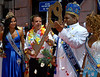 Eduardo Paes, left, Rio de Janeiro's Mayor, gives the key of the city to Milton Junior, center, the Momo King of the Carnival during the carnival opening ceremony, Rio de Janeiro, Brazil. February 12, 2010. The event officially kicks off the 2010 carnival week in Rio. (Austral Foto/Renzo Gostoli)