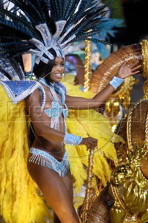 "British supermodel Naomi Campbell parades with the Portela samba school on a float during the ""Special Group"" carnvial parade at the sambadrome in Rio de Janeiro, Feb. 8, 2005.(AustralFoto/Douglas Engle)"