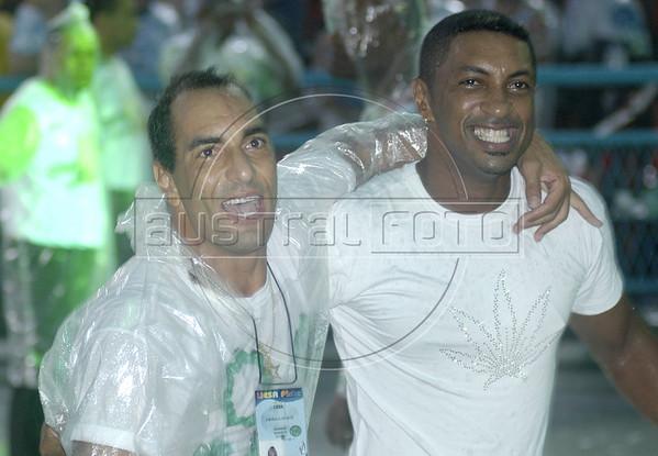 Brazilian soccer star Edmundo, left, enjoys carnaval in the Sambodrome with an unidentified friend in Rio de Janeiro, Brazil.(Australfoto/Douglas Engle)