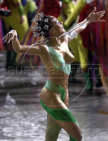 "Members of the Imperio Serrano Samba school, whose theme was ""nature"" parades at the sambadrome in Rio de Janeiro, Feb. 6, 2005.(AustralFoto/Douglas Engle)"