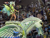 A dancer performs atop an Unidos do Viradouro samba school float down the Sambodrome during the samba school parade, Rio de Janeiro, Brazil, March 5, 2011. (Austral Foto/Renzo Gostoli)