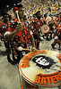Drummers with an image of argentinan revolutionary Che Guevara performs at the Sambadrome during the Academicos do Salgueiro samba school parade,  Rio de Janeiro, Brazil, February 10, 2013. (Austral Foto/Renzo Gostoli)
