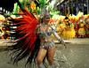 Drum queen of the Sao Clemente samba school performs at the Sambadrome during the samba school parade, Rio de Janeiro, Brazil, March 6, 2011. (Austral Foto/Renzo Gostoli)