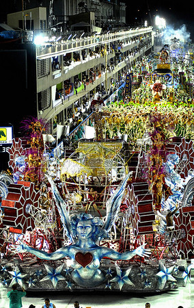 A float of Academicos de Santa Cruz samba school parades at the Sambadrome during the samba school parade, Rio de Janeiro, Brazil, March 5, 2011. (Austral Foto/Renzo Gostoli)