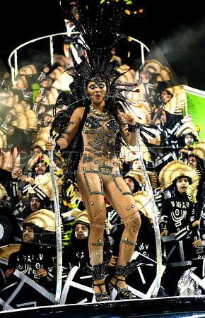Members of Portela samba school perform at Sambadrome, Rio de Janeiro, Brazil , February 19, 2012. (Austral Foto/Renzo Gostoli)