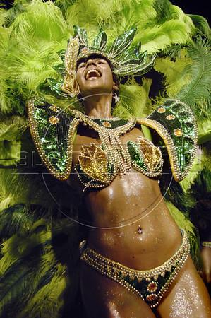 A samba dancer of Mocidade samba school performs at Sambadrome, Rio de Janeiro, Brazil, Feb. 28, 2006. (Austral Foto/Renzo Gostoli)