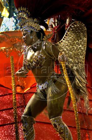 A member of Portela samba school performs at Sambadrome, Rio de Janeiro, Brazil , February 19, 2012. (Austral Foto/Renzo Gostoli)