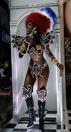 A dancer of Uniao da Ilha samba school performs at Sambadrome, Rio de Janeiro, Brazil , February 20, 2012. (Austral Foto/Renzo Gostoli)