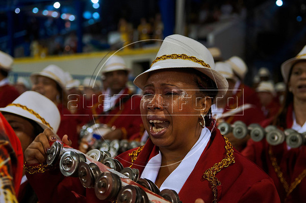 A drummer of a samba school cry about emotion at the Sambadrome during the samba school parade,  Rio de Janeiro, Brazil, February 8, 2013. (Austral Foto/Renzo Gostoli)