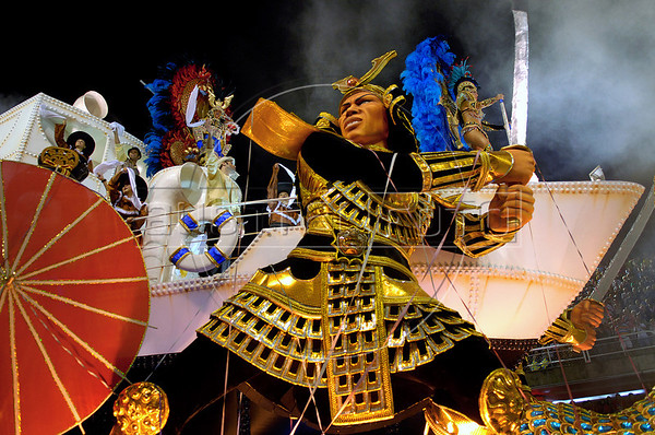 Revellers of the Vila Isabel samba school dance atop a float representing the japanese inmigration to Brazil, Rio de Janeiro, Brazil, Feb. 4, 2008. (Austral Foto/Renzo Gostoli)