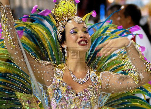 Members of a samba school perform at Sambadrome on the first night of the Carnival samba school parade, Rio de Janeiro, Brazil , February 13, 2010.  (Austral Foto/Renzo Gostoli)
