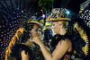 Drums queen of Sao Clemente samba school Bruna Almeida and her daughter prepare to parade at Sambadrome on the first night of the Carnival samba school parade, Rio de Janeiro, Brazil , February 13, 2010.  (Austral Foto/Renzo Gostoli)