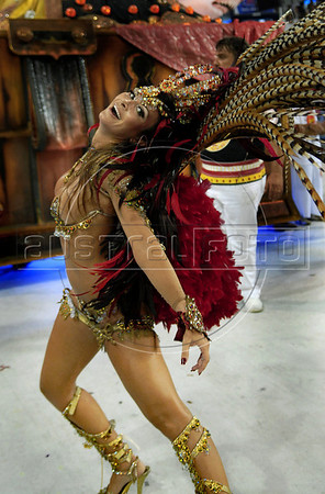 A dancer from Viradouro samba school performs at the Sambadrome during the samba school parade in Rio de Janeiro, Brazil, February 14, 2010. (Austral Foto/Renzo Gostoli)