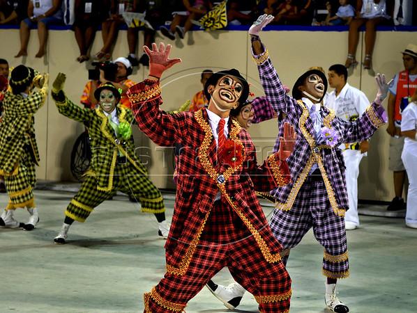 Members of Sao Clemente samba school perform at Sambadrome on the first night of the Carnival samba school parade, Rio de Janeiro, Brazil , February 21, 2009.  (Austral Foto/Renzo Gostoli)