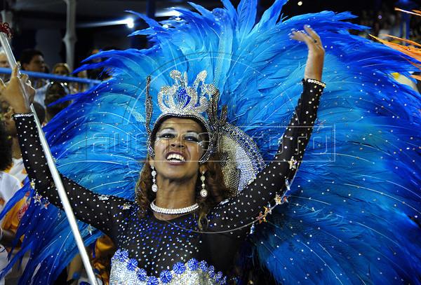 A member of Salgueiro samba school performs at Sambadrome, Rio de Janeiro, Brazil , February 20, 2012. (Austral Foto/Renzo Gostoli)