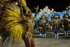 A samba dancer performs at the Sambadrome during the Tijuca samba school parade,  Rio de Janeiro, Brazil, February 10, 2013. The Unidos da Tijuca Samba school parade pays tribute to Germany during Rio de Janeiro's 2013 carnival celebrations. (Austral Foto/Renzo Gostoli)