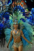 A dancer from Grande Rio samba school performs at the Sambadrome during the samba school parade in Rio de Janeiro, Brazil, February 22, 2009. The Grande Rio Samba school parade pays tribute to France during Rio de Janeiro's 2009 carnival celebrations. (Austral Foto/Renzo Gostoli)