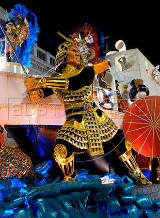 Revellers of the Vila Isabel samba school dance atop a float representing the japanese inmigration to Brazil, Rio de Janeiro, Brazil, Feb. 5, 2008. (Austral Foto/Renzo Gostoli)
