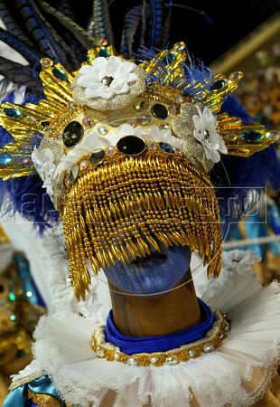 A member of a samba school performs at Sambadrome, Rio de Janeiro, Brazil , February 18, 2012. (Austral Foto/Renzo Gostoli)