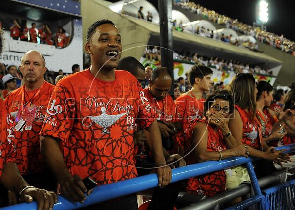 American actor Will Smith enjoys the samba parades at the sambadrome, Rio de Janeiro, Brazil, February 10, 2013. (Austral Foto/Renzo Gostoli)