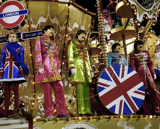 "A float of Uniao da Ilha samba school with statues representing ""The Beatles""  parades at Sambadrome, Rio de Janeiro, Brazil , February 20, 2012. (Austral Foto/Renzo Gostoli)"
