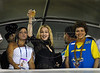 U.S. singer Madonna and Dilma Roussef, right, cabinet chief of Brazil's President Luiz Inacio Lula da Silva, watch the Carnival parade of samba schools at the Sambadrome, Rio de Janeiro, Brazil, February 14, 2010.<br />   (Austral Foto/Renzo Gostoli)