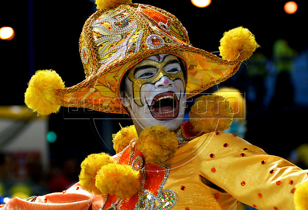 A member of a samba school performs at Sambadrome on the first night of the Carnival samba school parade, Rio de Janeiro, Brazil , February 13, 2010.  (Austral Foto/Renzo Gostoli)