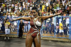 Samba dancer Andrea Martins performs during a samba school's rehearsal at the Sambadrome, Rio de Janeiro, February 4, 2012. All week end of January and February the Rio's samba schools train in the Sambadrome for the carnival parade. The 2012 carnival start officially February 18. (Austral Foto/Renzo Gostoli)