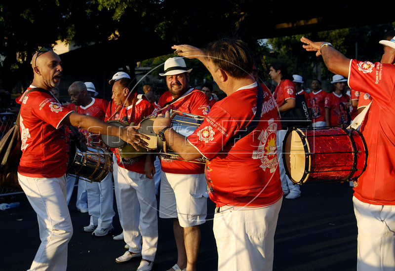 Drummers prepare to participate at a samba school's rehearsal at the Sambadrome, Rio de Janeiro, January 23, 2011. All week end of January and February the Rio's samba schools train in the Sambadrome for the carnival parade. The 2011 carnival start officially March 4. (Austral Foto/Renzo Gostoli)